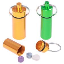 Mini Waterproof Metal Medicine Pill Box Case Bottle Holder Container Keychain Fy