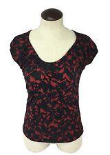NEW Jason Maxwell women's petite cap sleeve red black geometric blouse