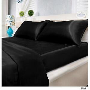 "21"" Deep Pkt 7 PC(Sheet Set+Duvet Set) Queen Size 1000 TC Satin Silk & Colors"