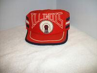 "Vintage IIIinois Fighting IIIini Chief 3 Stripe Snapback Trucker Hat ""RARE"" USA"