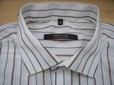 ED944 Eterna Excellent Hemd 43 weiß Silbergrau Braun Blau Gestreift Sehr gut