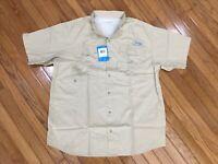 NWT COLUMBIA PFG Men's Beige Bonehead Button Up Vented Shirt Fishing Sz L