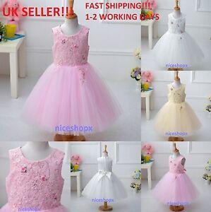 Girls Flower Bridesmaid Party Prom Princess Wedding Christening Communion Dress