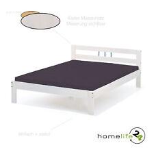 Bett 140x200 cm Doppelbett Holzbett Massivholzbett weiß lackiert Kiefer massiv