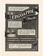 1912 Original Antique Martin Smith Ergoapiol Drug Medicine Print Ad