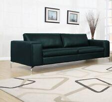 Couch 3er Sofa Sitzgarnitur Garnitur Wohnzimmer Sofagarnitur Kunstleder Schwarz
