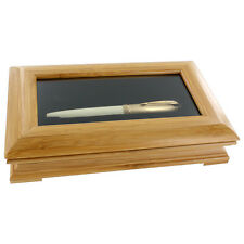 Bamboo Woodtone Glass Top Single Pen Display Show Case