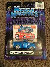 NEW 1/64 Funline Muscle Machines Blown 1940 '40 Jeep Willys Pickup PU Blue 01-27