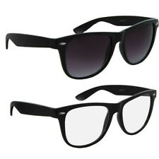 Twin Pack Small Black Retro Sunglasses 1 x Clear 1 x Smoked Lenses +KIT