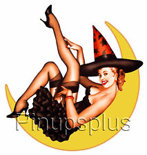 Sexy Retro Witch Pinup Girl Waterslide Decal Sticker Sexy High Heels S140