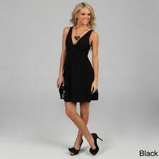 NEW Evanese Women's V-neck Short Dress BLACK Small Jersey Beautiful