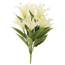 Lily Bunch Artificial Flowers 9 stem x 50cm White