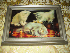 3 CATS PLAY CHESS 4 X 6 silver framed picture Antique style animal art print