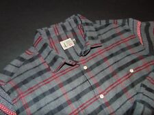HOWE Men's Button Front Flannel Shirt ~ 2XL ~ XXL ~ Striped ~ Gray, Black & Red