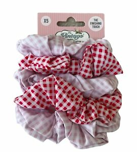 The Vintage Cosmetic Company Red Pink Gingham Hair Scrunchies 5-Pack NEW