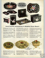 1958 PAPER AD Tole Ware Floral Hand Painted Magazine Rack Chippendale Tray Waste