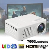 7000Lumens 3D 1080P Full HD Mini Projector LED Multimedia Home Theater AV USB WH