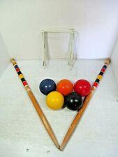SPORTSCRAFT Croquet Set Parts - 5 Balls, 2 Wooden Stakes, 8 Metal Wickets