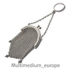 Art Deco Silber Ring m. Kettentasche Abendtäschchen feinmaschig silver chain bag