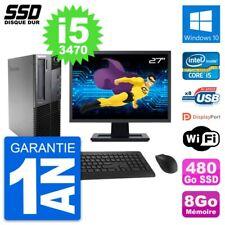 """PC LENOVO M82 SFF Screen 27 """" Intel Core i5-3470 RAM 8Go SSD 480Go Windows 10"""