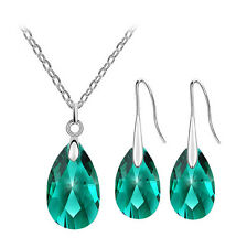 Emerald Green Crystal Almond Jewellery Set Drop Earrings Necklace Pendant S742