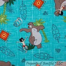 BonEful Fabric Cotton Quilt The Jungle Book Blue Bear Boy Disney Palm Tree SCRAP