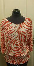 ANN TAYLOR LOFT small 3/4 length sleeve gathered waist Blouse Shirt Top S Orange