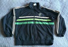 Vtg retro Adidas tracksuit top jacket, sz 36/38 (S), GC, blk cream/green stripes