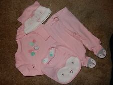 NWT 0-3M GYMBOREE Girls FOREST OWL 4pc Set Bodysuit Footed Pants Bib Hat Outfit