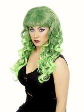 Peluca Rizado verde Sirena Largo Flecos Glamour Disfraz de Halloween vestido elegante para mujer