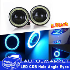 2x2.5'' Car Angel Eye Blue COB Halo Ring LED DRL Projector Len Fog Driving Light