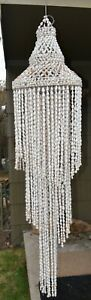 """VTG Gorgeous Rare 68"""" Long Puka Cowrie Sea Shell Chandelier MCM Hanging"""