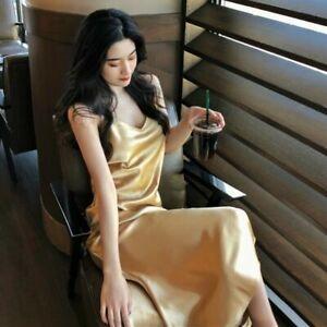 Women Long Dress Faux Silk Satin Full Slips Fishtail V Neck Strap Sleepwear Soft