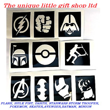 10 x BOYS  stencils top up your glitter tattoo kit superhero minion skater