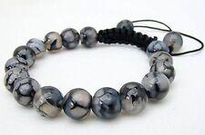 Men's Shambhala bracelet all 10mm NATURAL DRAGON VEINS AGATE stone beads
