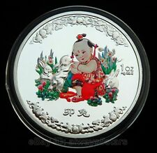 Lucky Rabbit Baby Chinese Lunar Zodiac Colored Silver Plated Coin Token