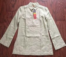 NWT Tory Burch Embroidered Linen Tunic Top Beije size 4