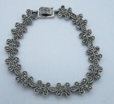 Vintage Bracelet Gray Black Rhinestone Crystal Tennis Silver Tone Elegant Shiny