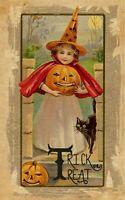 Raphael Tuck Trick or Treat Girl Holding Pumpkin, Vintage Halloween Print|Decal
