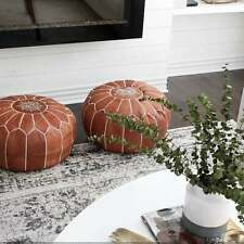 MOROCCAN POUF Leather Ottoman **Chronopost free shipping** Big Promo of 2 Pouffe