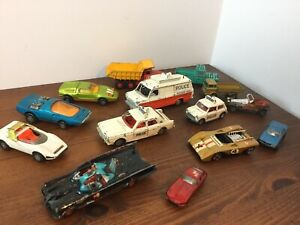 JOBLOT OF VINTAGE DINKY CORGI Lesney Batmobile & Figure Batman Police Cars etc.