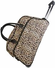 "Women's Leopard Print 21"" Rolling Duffel Bag Suitcase Garment Carry-on Duffel"