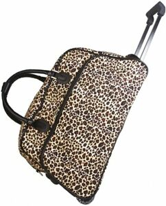 "Women's Leopard Print 21"" Rolling Duffel Bag Suitcase Garment Carry-on Duffle"
