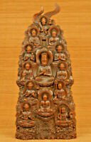 unique chinese old boxwood hand carved buddha statue figure collectable