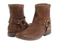 New in Box FRYE Women's Phillip Harness Ankle Boots Cognac Stoned Antique