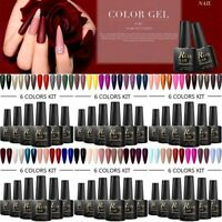 RBAN NAIL 6Bottles 8ml UV Gel Nail Polish Set Soak Off Color Glitter Varnish DIY
