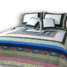 DaDa Bedding Cotton Patchwork Spring Patio Floral Quilted Bedspread Set - Twin