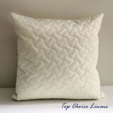 45cm x 45cm Velvet Geometric Quilted Cushion Cover- Cream