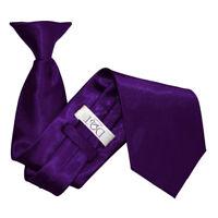 DQT Satin Plain Solid Purple Waiter Security Funeral Clip On Tie