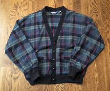Vintage Pendleton Cardigan Sweater Wool Plaid Made In USA